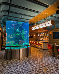 Interior of Fishbowl NYC with view of aquarium